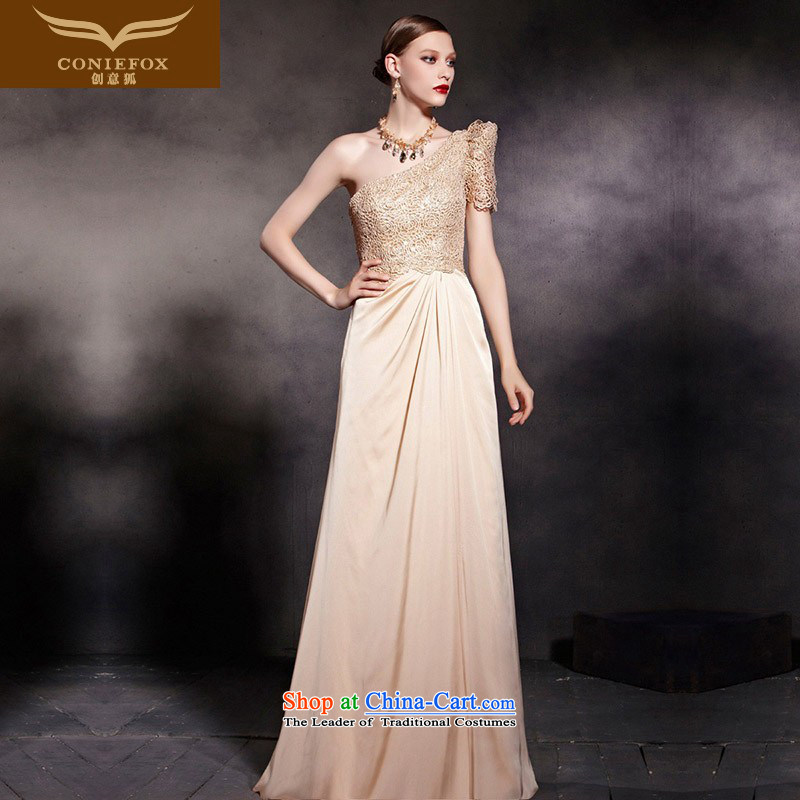 Creative Fox evening dresses gold shoulder dress classy Beveled Shoulder auspices dress stylish lace evening banquet will long gown 30605 color picture�XL