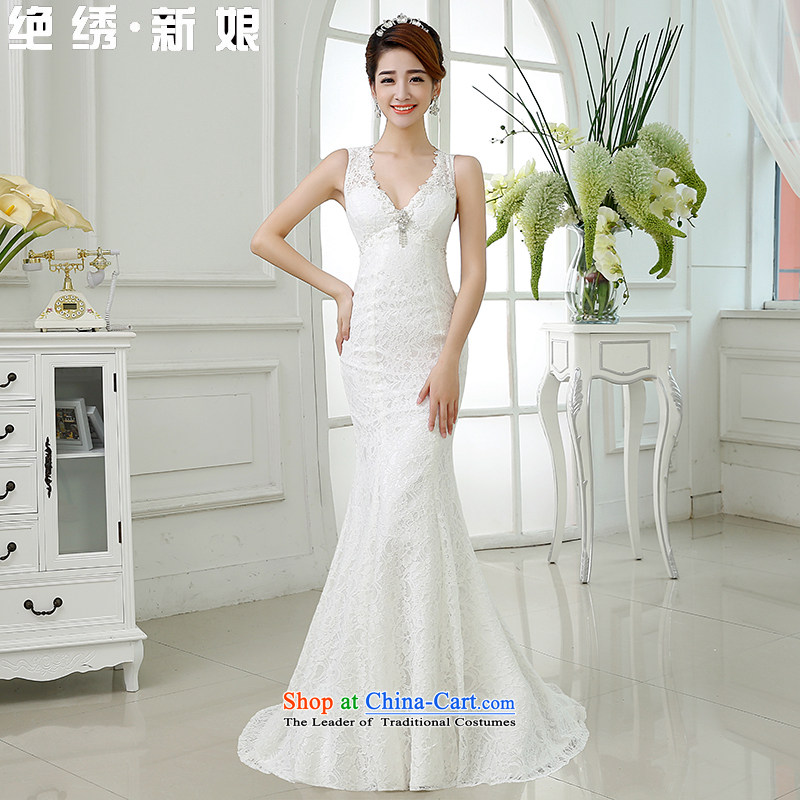 Wedding dresses is embroidered bride�2015 new Korean brides to align the Sau San crowsfoot wedding dresses White�M�Suzhou Shipment