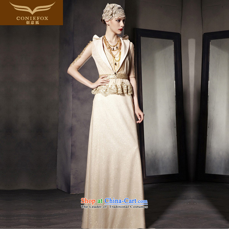 The kitsune dress creative new banquet style evening dress to dress up the gold chip performance dress long two kits of 30508 color photo of dress?L