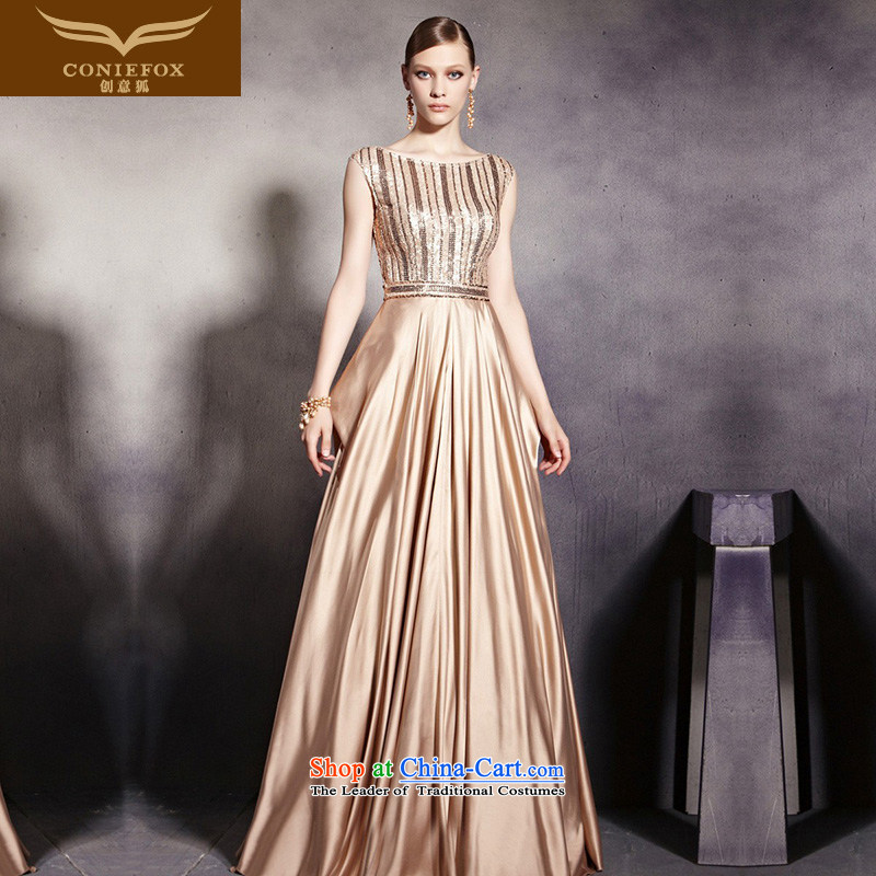 Creative Fox evening dress stylish shoulders Golden Ballroom evening dresses sit back and relax long skirt evening dress presided over a drink service bridesmaid dress 30530 color picture S