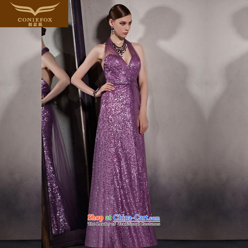 Creative Fox evening dresses purple to dress sexy deep V back-to-dress also dress stage shows long red carpet dress?30550?color picture?XXL