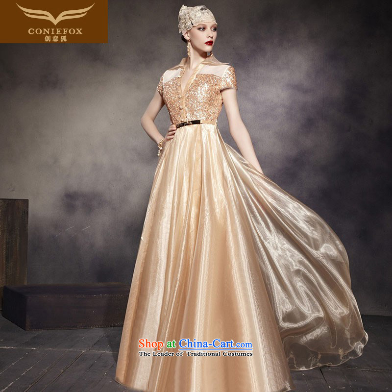 Creative Fox evening dress Stylish retro gold princess dress shoulders to long evening dresses performances conducted dress dress long skirt 30565 picture color?L