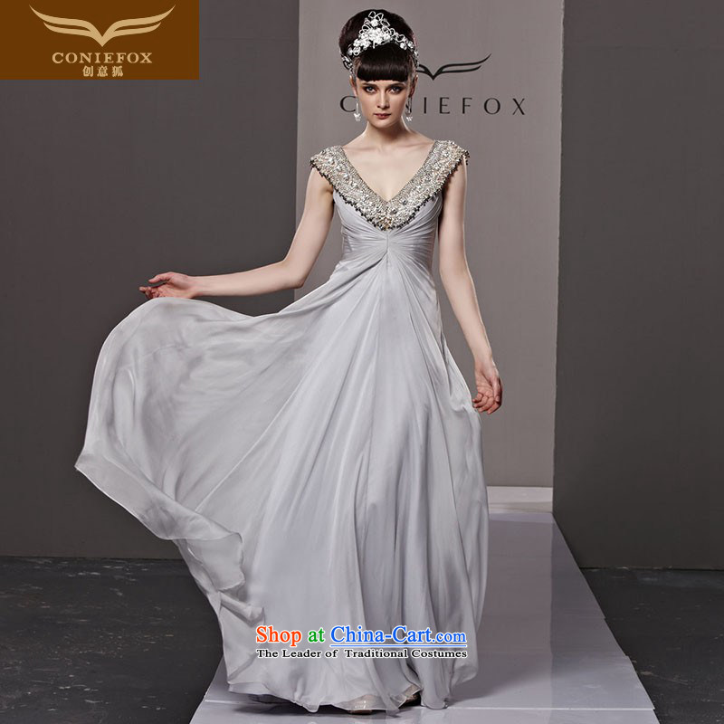 Creative Fox evening dress stylish diamond banquet dinner dress up loins length of deep bows services V dress marriage under the auspices of the annual session of 81112 picture color�S dress