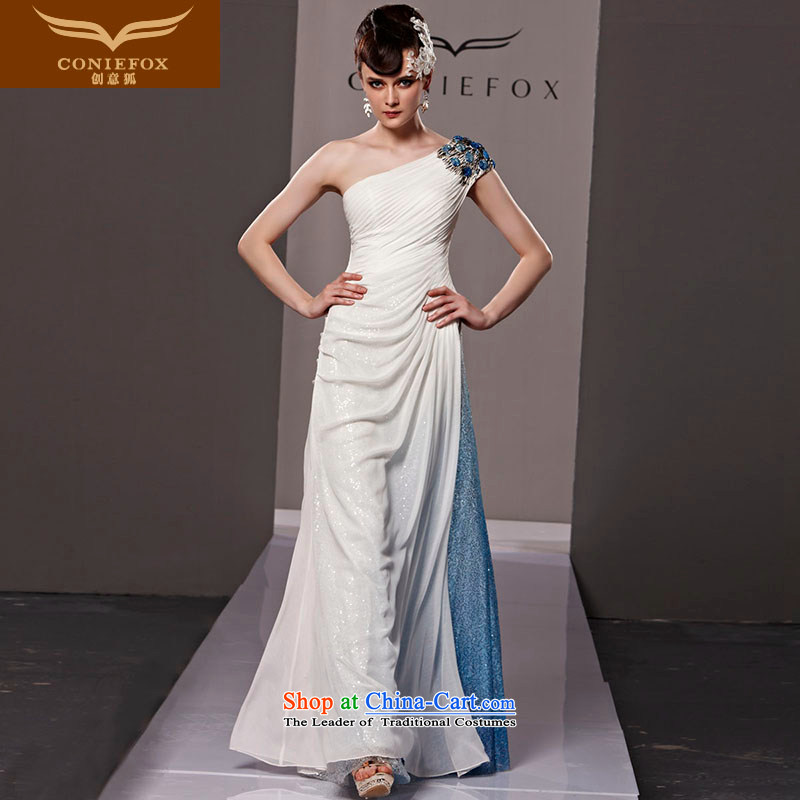 Creative Fox evening dresses elegance single shoulder length_ under the auspices of the annual dinner dress banquet dress exhibition service name ethnic performances wind dress skirt at extension 81120 White聽XXL