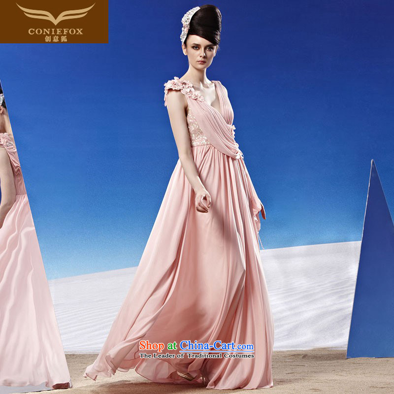 Creative Fox evening dresses and sexy deep V Korean brides wedding dress bows service long water drilling shoulders dress long skirt dresses will preside over 81189 picture color聽XL