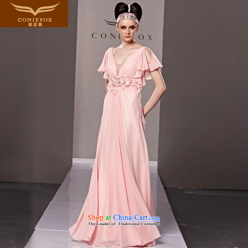 Creative Fox evening dresses pink bride wedding dress evening dress long Europe bows deep V banquet hosted performances evening dresses dress 81191 color picture?XL