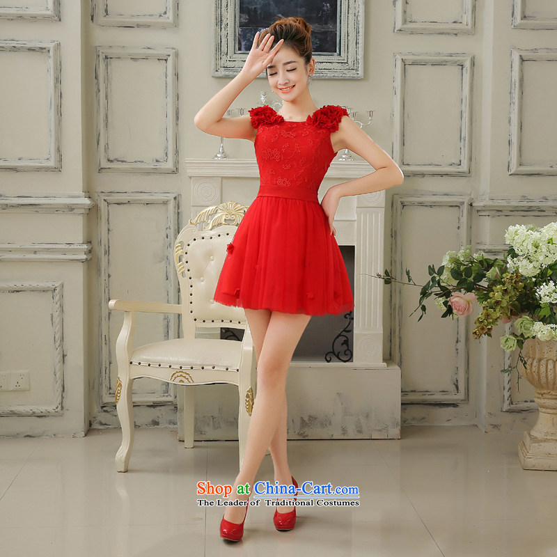 Embroidered is the?new 2015 bride short, Bridal Services Video thin-bows shoulder small dress sexy beauty evening red?S?Suzhou Shipment