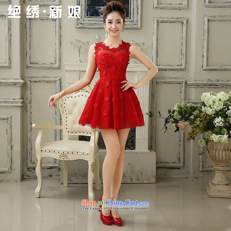 Embroidered is by no means a bride wedding dresses 2015 new marriages red dress skirt bows service, evening red LF803 S Suzhou Shipment