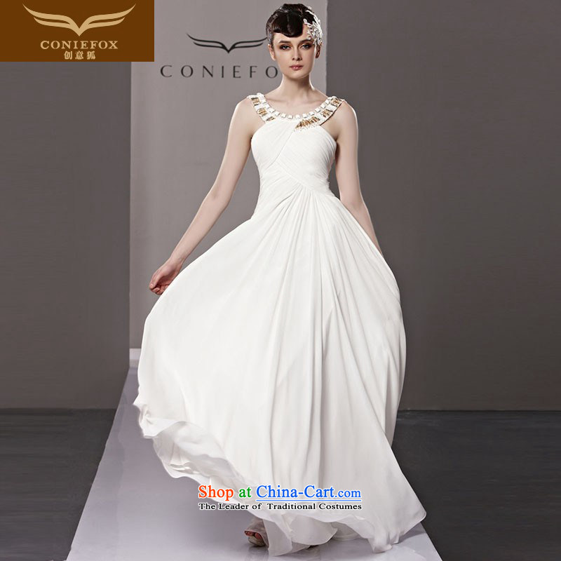 The kitsune evening dresses brides Creative wedding dress long bridesmaid dress skirt white elegant banquet evening dresses annual events including dress 81236 White聽M