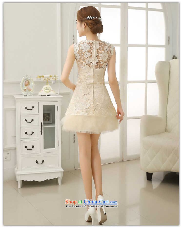 No bridesmaid dresses bride embroidered short of Princess bon bon skirt small dress shoulders white lace bride bows to champagne color pictures, shipment Suzhou XL price, brand platters! The elections are supplied in the national character of distribution, so action, buy now enjoy more preferential! As soon as possible.