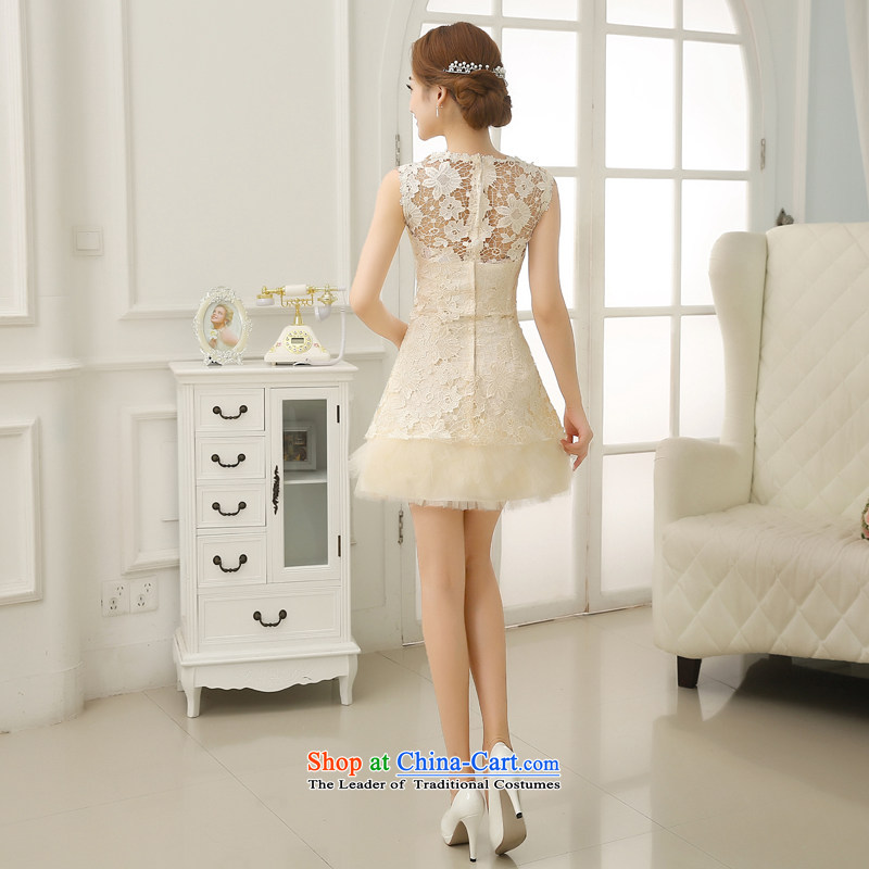 No bridesmaid dresses bride embroidered short of Princess bon bon skirt small dress shoulders white lace bride bows to champagne color XL , Suzhou embroidery brides shipment has been pressed shopping on the Internet