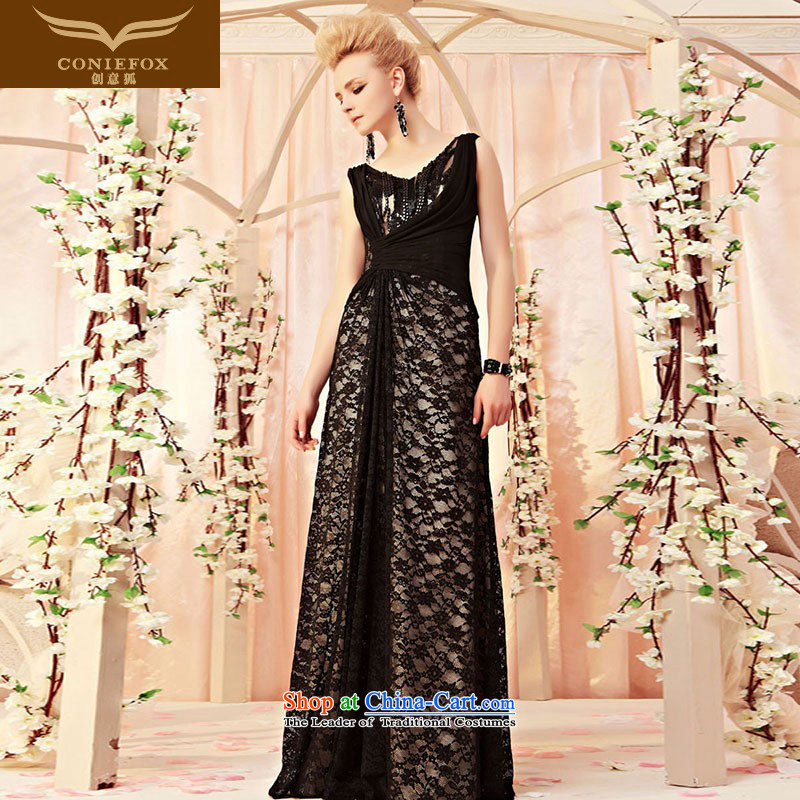 Creative Fox evening dress sense of black lace banquet evening dresses Sau San long evening drink service exhibition car models show dress skirt 30311 color pictures show?M
