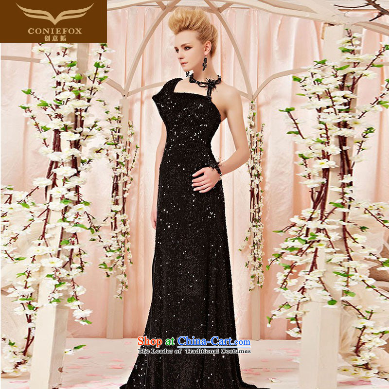 The kitsune elegant evening dress creative single shoulder bags edge black dress on-chip banquet skirt evening dress bows services under the auspices of the Annual Show 30315 color pictures dress聽XL