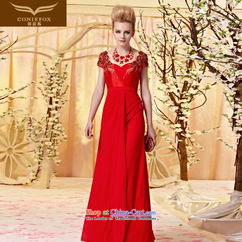 Creative Fox evening dresses and noble embroidered dress skirt package shoulder graphics thin evening drink served an elegant and red bride wedding dress long?30320?picture color?S