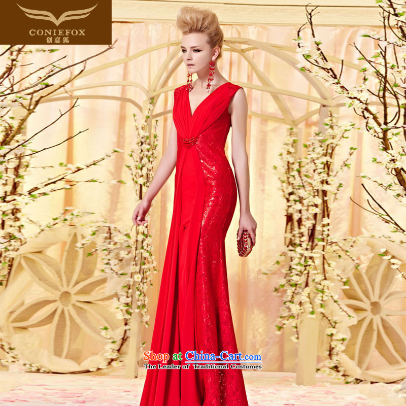 The kitsune elegant evening dress creative sexy deep V lace evening dresses red dress dress married bows long concert red carpet dress 30356 color picture?XXL
