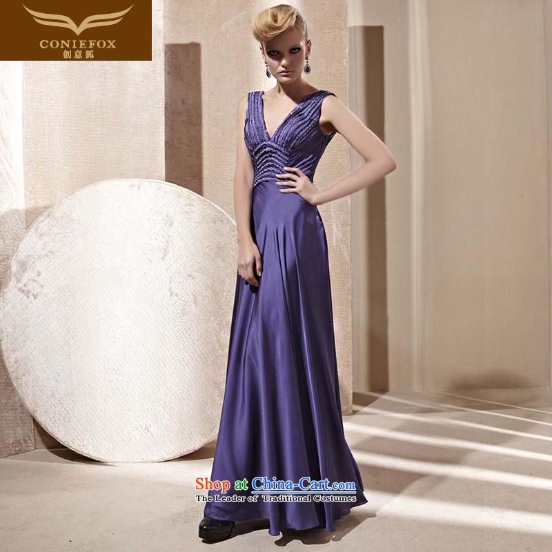 Creative Fox evening dresses long shoulders dress continental bride dress banquet deep bows evening dresses V dress skirt?81262?color picture?XL
