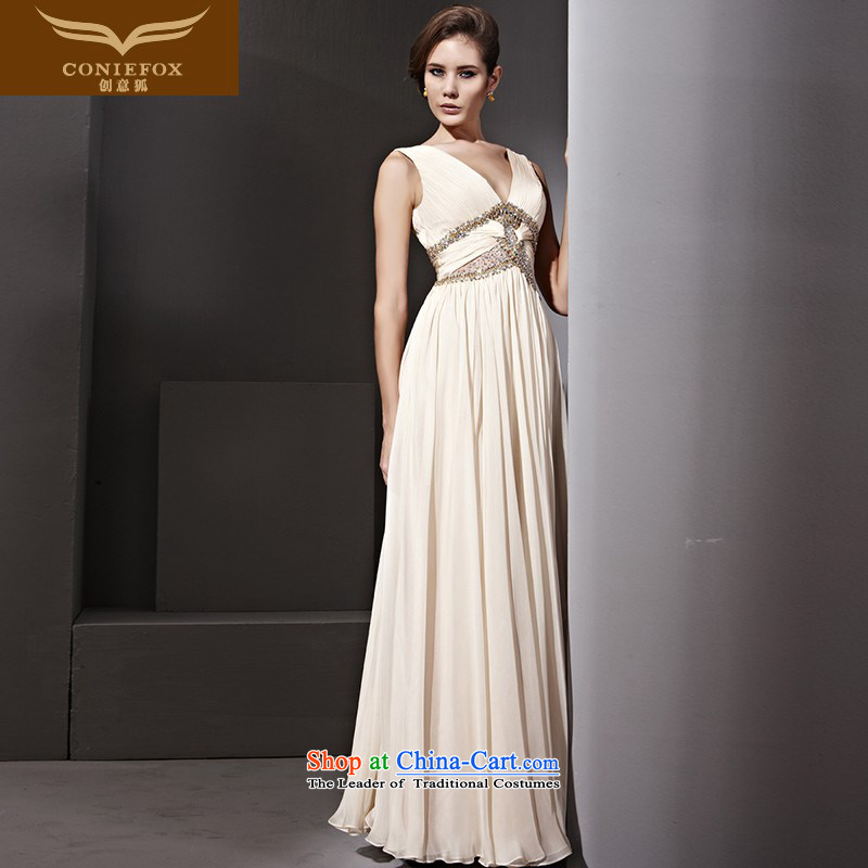 Creative Fox evening dress Deep v high waist long dresses banquet manually staple pearl diamond annual meeting under the auspices of dress skirt temperament and dress 81162 picture color�M