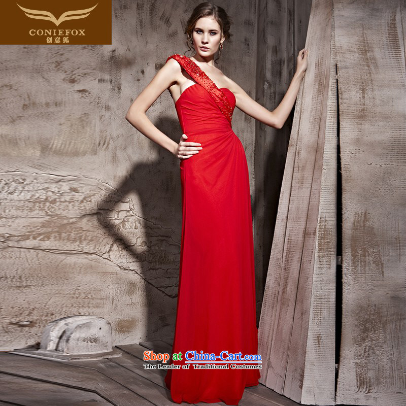 Creative Fox evening dresses red dress sexy bride elegant long Beveled Shoulder banquet evening dresses marriage evening drink service under the auspices of dress聽81165聽Red聽L