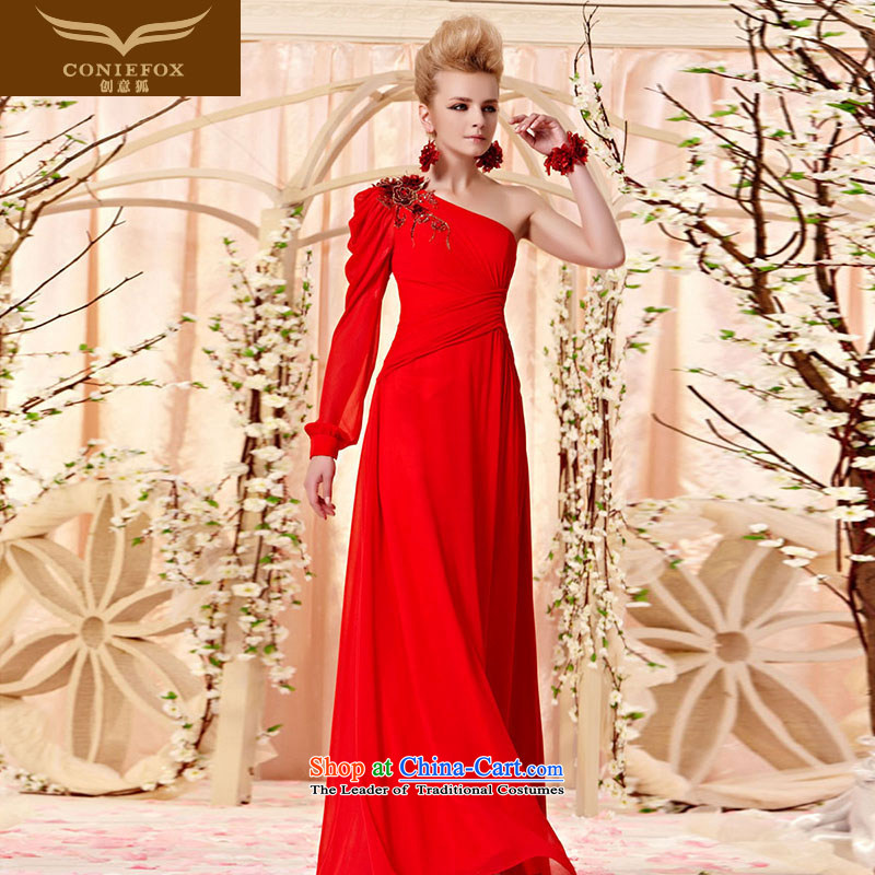 Creative Fox evening dresses early autumn new elegant shoulder long-sleeved evening dresses red evening dresses bride Sau San long skirt bows services 30359 marriage picture color XXL