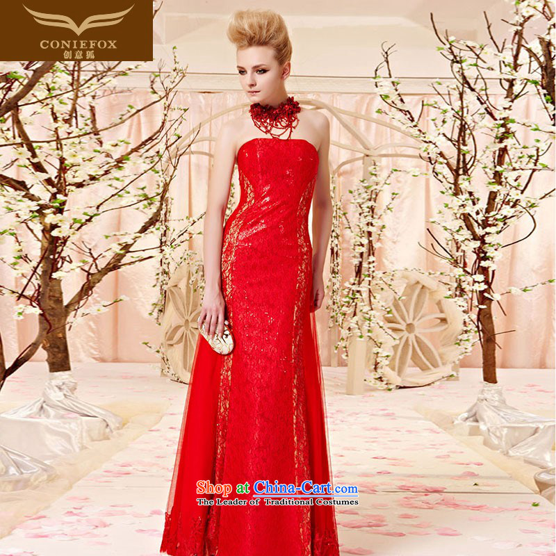Creative Fox evening dresses and sexy beauty chest anointed lace long evening dress skirt red bride wedding dress evening banquet bows dress 30361 picture color XL