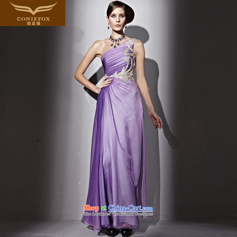 Creative Fox evening dresses purple elegant shoulder evening dresses evening banquet bows services annual concert long Sau San auspices dress long skirt girl 81186 purple L