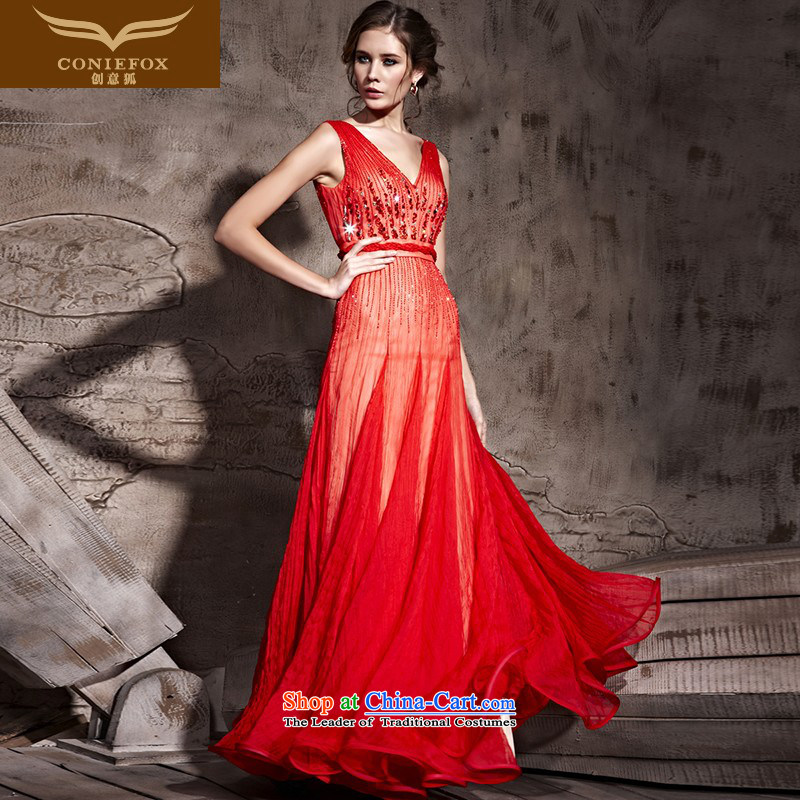Creative Fox evening dress red sexy Deep v bride wedding dress classy evening drink service banquet long Sau San wedding dresses 81203 Red聽L