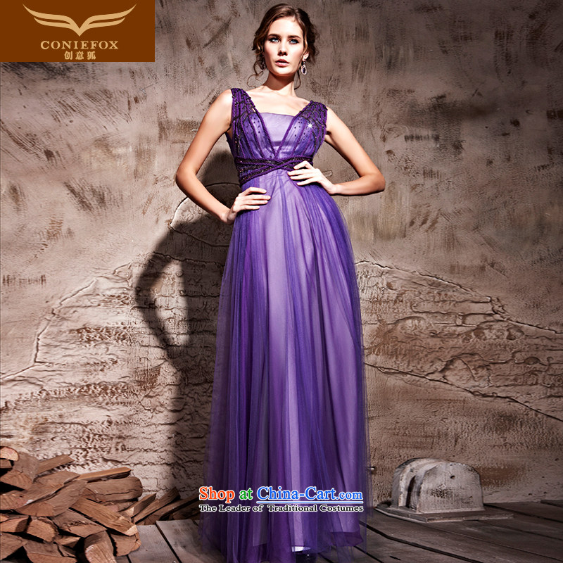 Creative Fox evening dresses purple gliding sexy evening dress evening banquet service performances photography dresses bows Foutune of long thin dress skirt 81210 Graphics purple?L