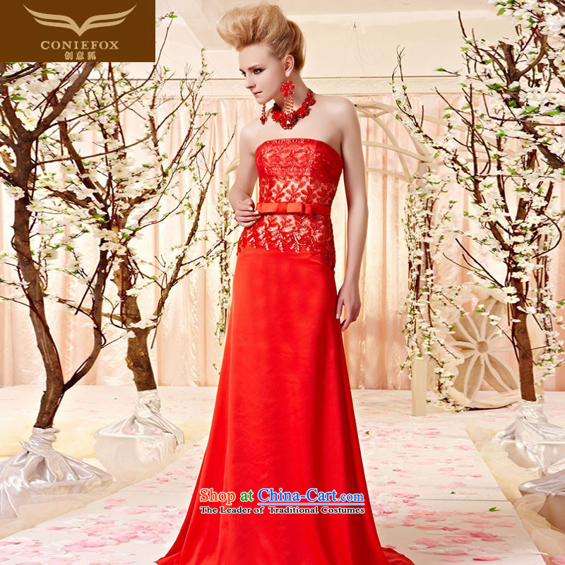 Creative Fox evening dresses and sexy wiping the Chest on the drilling of marriage bow tie dinner dress red bride evening drink service banquet long gown long skirt 30380 picture color L