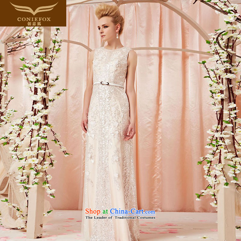 The kitsune dress creative new irrepressible round-neck collar lace on chip evening dresses long white wedding dress skirt annual meeting of chairpersons evening dress 30390 color picture L