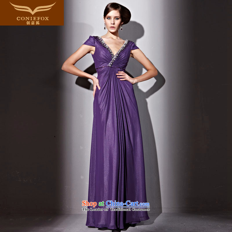 Creative Fox evening dresses purple sexy deep V dress package shoulder graphics thin evening drink services under the auspices of the annual dress long banquet dresses 81230 purple?M