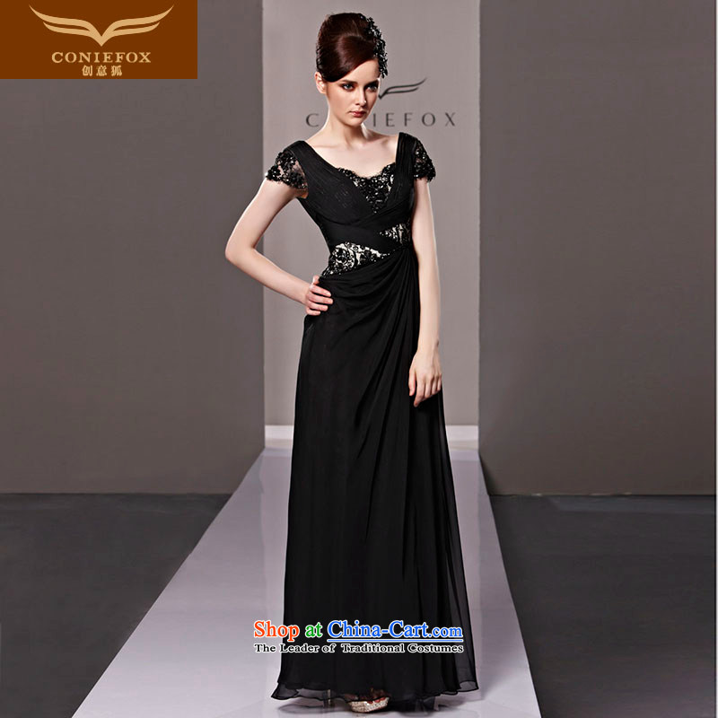 Creative Fox evening dress black dress and sexy banquet stylish evening drink served long silk dress dresses annual meeting under the auspices of dress聽81285聽Black聽S