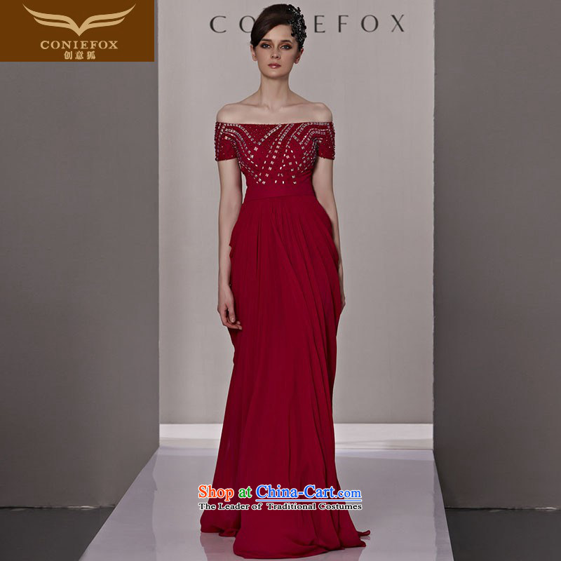 Creative Fox evening dresses and sexy word shoulder red bride wedding dress noble diamond long gown bows to the autumn and winter jackets skirt�  81288�color picture�M
