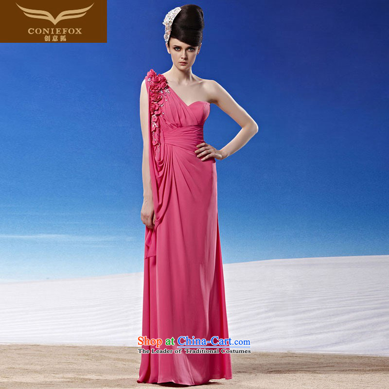 Creative Fox evening dresses and sexy shoulder pink bride wedding dresses elegant long bridesmaid dress annual meeting presided over long skirt evening dress 81291 picture color�XL