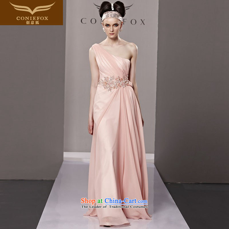 Creative Fox evening dresses 2015 new pink shoulder bride wedding dress Beveled Shoulder bridesmaid dress evening drink service long skirt 81303 dress photo color XL