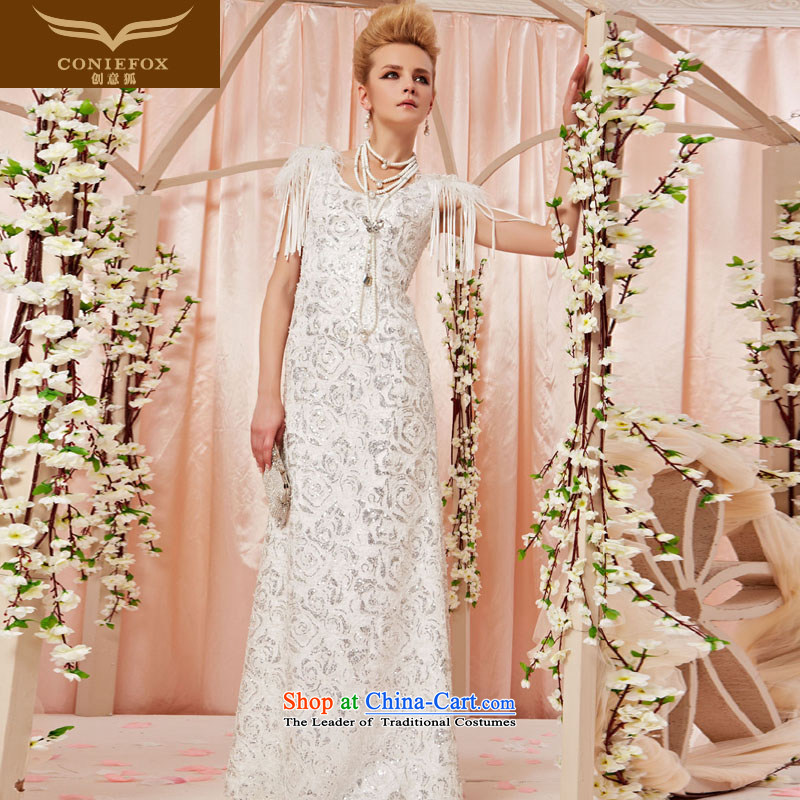 Creative Fox evening dresses and noble white wedding dresses dream shiny cards rose stamp evening dresses marriages evening dresses long skirt 30505 color picture�M
