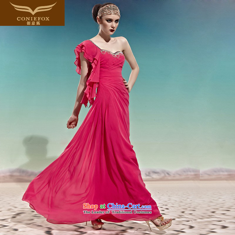 Creative Fox evening dress pink bride wedding dresses banquet marriage shoulder to drink long bridesmaid evening dress 56880 color pictures show dress�XXL
