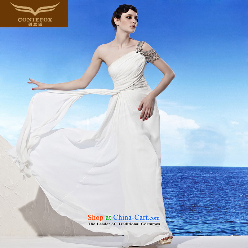 The kitsune dress creative new long single shoulder evening dress white wedding dress skirt princess evening dress evening dress聽 56885 performances under the auspices of聽White聽XXL