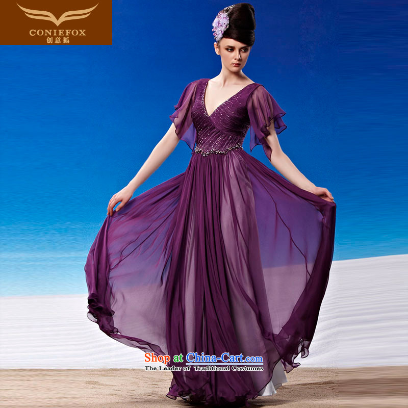 Creative Fox evening dresses purple noble long banquet evening dresses and sexy Deep v evening drink annual service will show dress long skirt 81332 color picture M