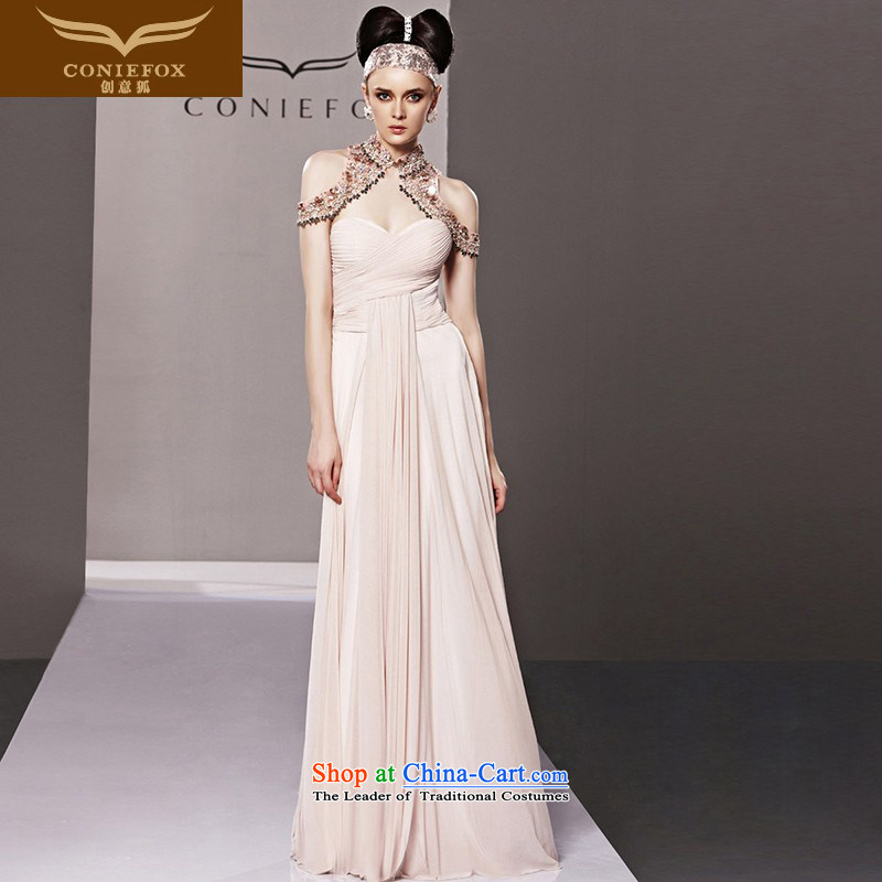 Creative Fox evening dresses pink ancient noble continental evening dresses long skirt annual meeting under the auspices of dress exhibition dress banquet hang also dress 81005 picture color M