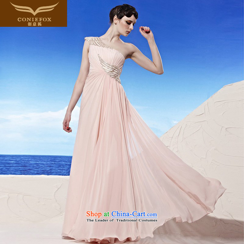 Creative Fox evening dresses shoulder Beveled Shoulder dress Korean pink long evening dresses bridal dresses bridesmaid elegant long skirt annual meeting presided over 56896 dress pink�XL