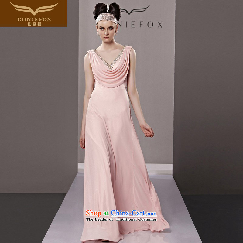 Creative Fox evening dress stylish deep V banquet evening dresses long dresses skirts marriage romantic pink dresses�81163 presided over long skirt�picture color�S