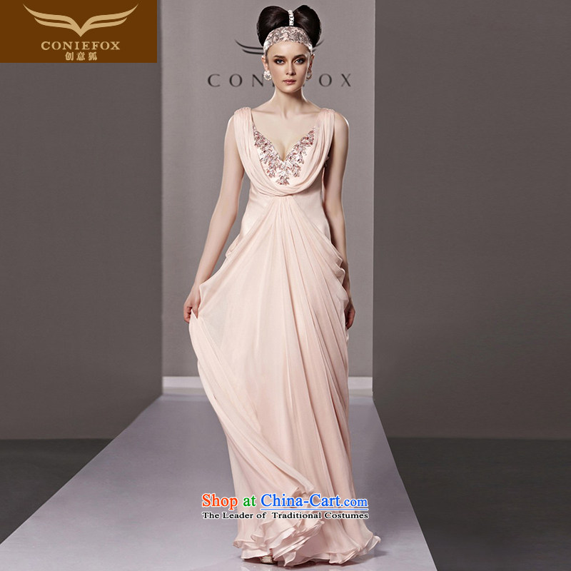 Creative Fox evening dresses pink sexy deep V wedding dress bride wedding dress long winter evening dress long skirt� 81180�picture color�XL