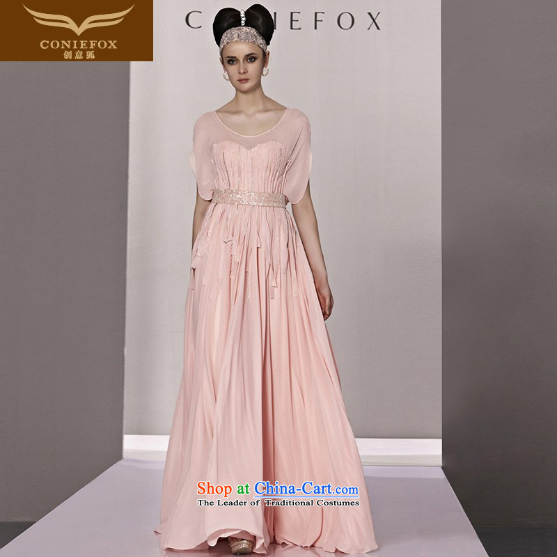 Creative Fox evening dresses pink sweet short-sleeved Princess Bride evening dress wedding dress evening pleated skirts annual meeting presided over a hundred dress long skirt 81188 picture color?M