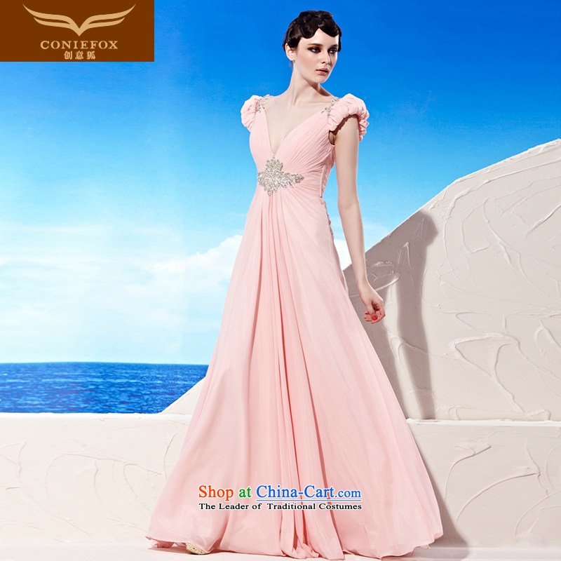 Creative Fox evening dresses pink sexy deep V bride wedding dress banquet services under the auspices of the annual bows dress evening dresses?56901?pink?S