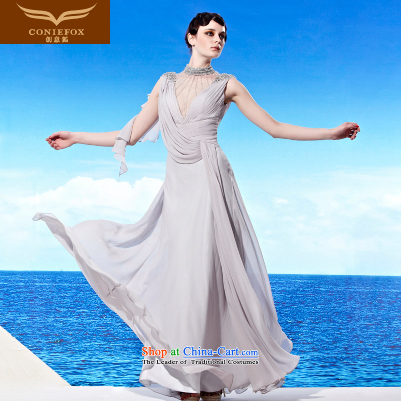 The kitsune elegant evening dress creative long sexy deep V dress uniform fashion show bows banquet dress evening dresses moderator 56902 gray?XL
