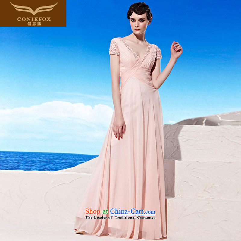Annual Meeting of the creative dress under the auspices of the Kitsune dress banquet long sexy V-Neck evening dress bride wedding dress bridesmaid dress skirts Sau San�56919�pink�S