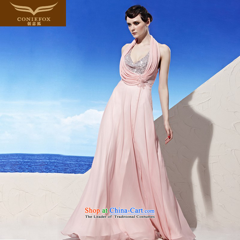 Creative Fox evening dresses?2015 autumn and winter new pink drink service banquet long bride wedding gown hanging also dress? 56922 elegant?pink?M
