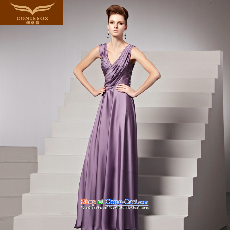 Creative Fox evening dress autumn and winter new long sexy purple shoulders V-Neck evening dress annual meeting under the auspices of dress skirt banquet evening drink service 81358 color picture�M