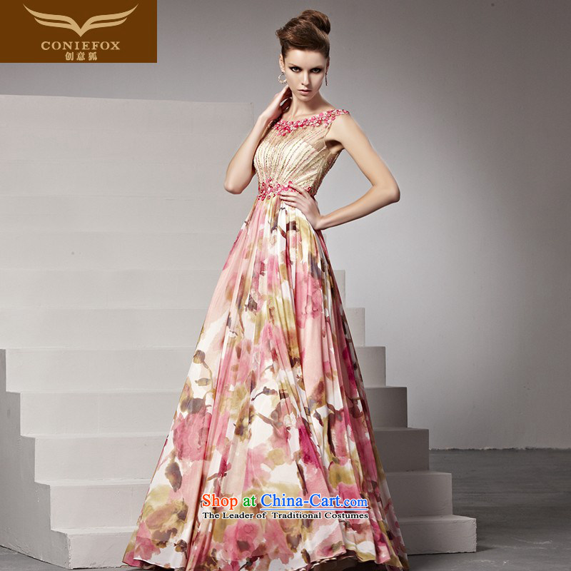 Creative Fox evening dresses sweet flowers dress Princess Bride to long skirt dress marriage bows dress elegant long skirt 81360 picture color?XL pre-sale