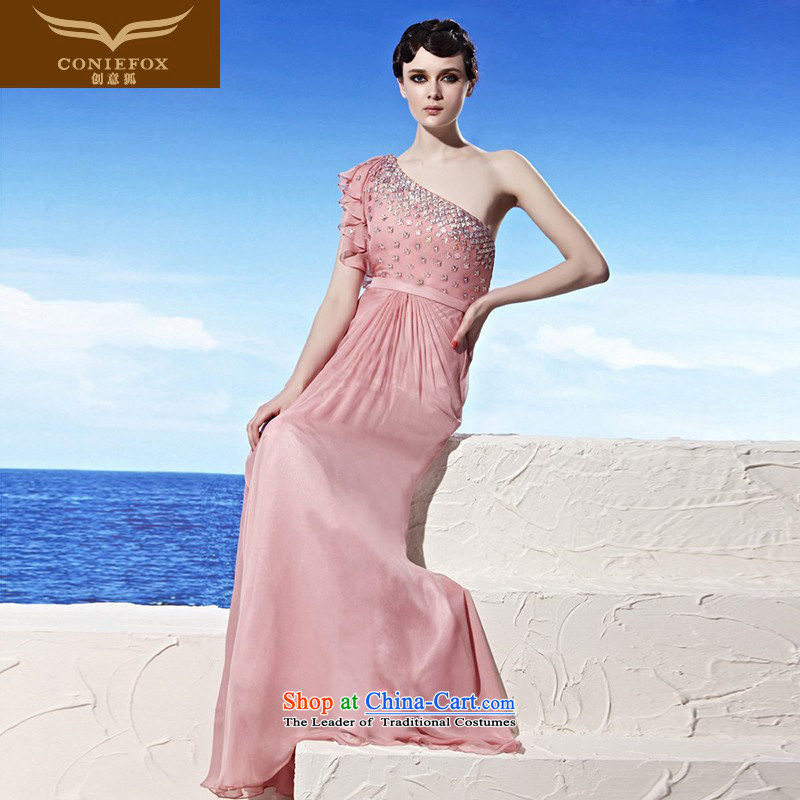 Creative Fox evening dress pink dresses shoulder stylish water drilling dress sweet graphics thin banquet wedding dress long bridesmaid dress 56923 pink?S